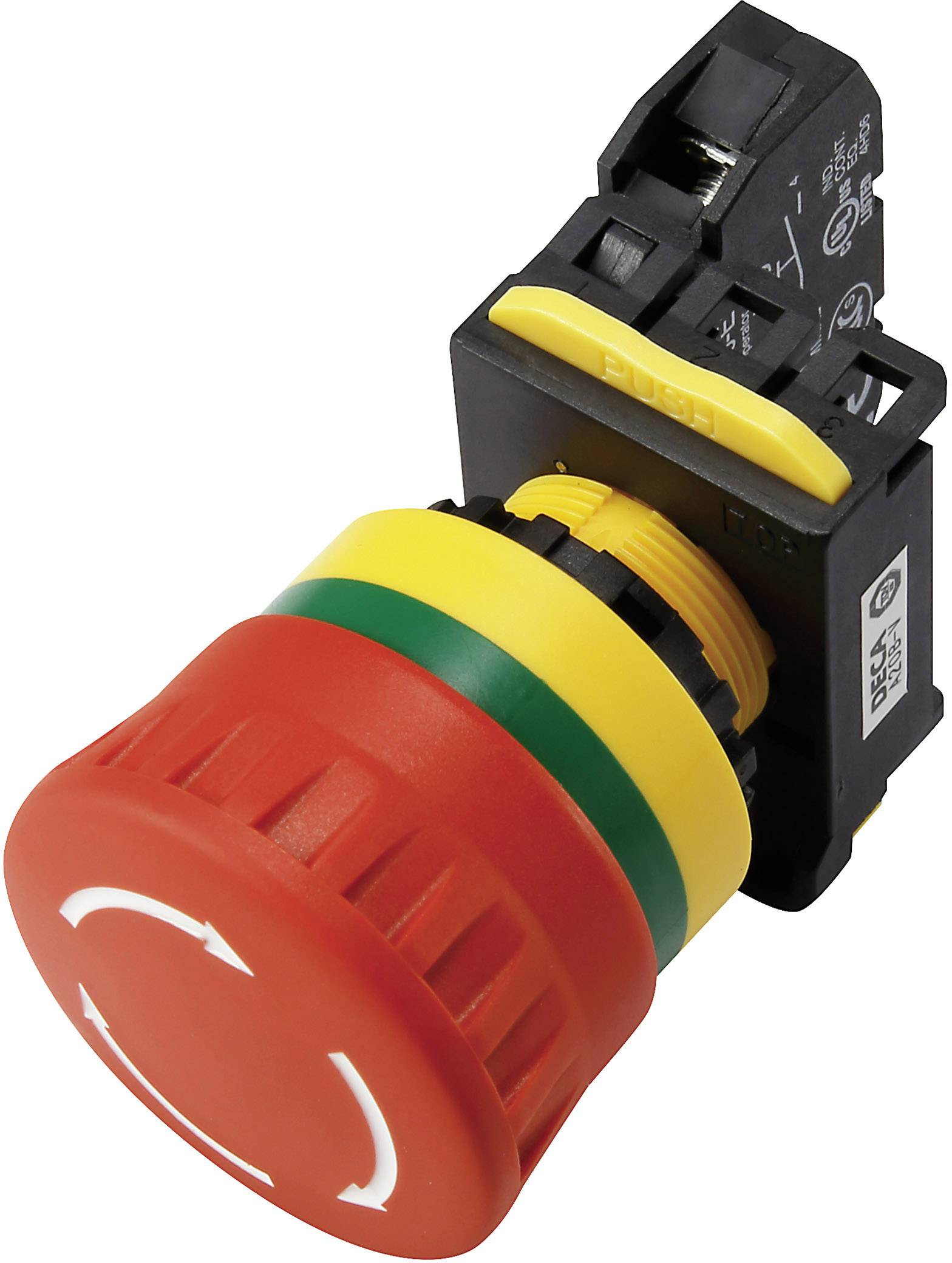 Nouzový vypínač s kontaktním prvkem DECA A20B-V4E21R, 240 V/AC, 6 A