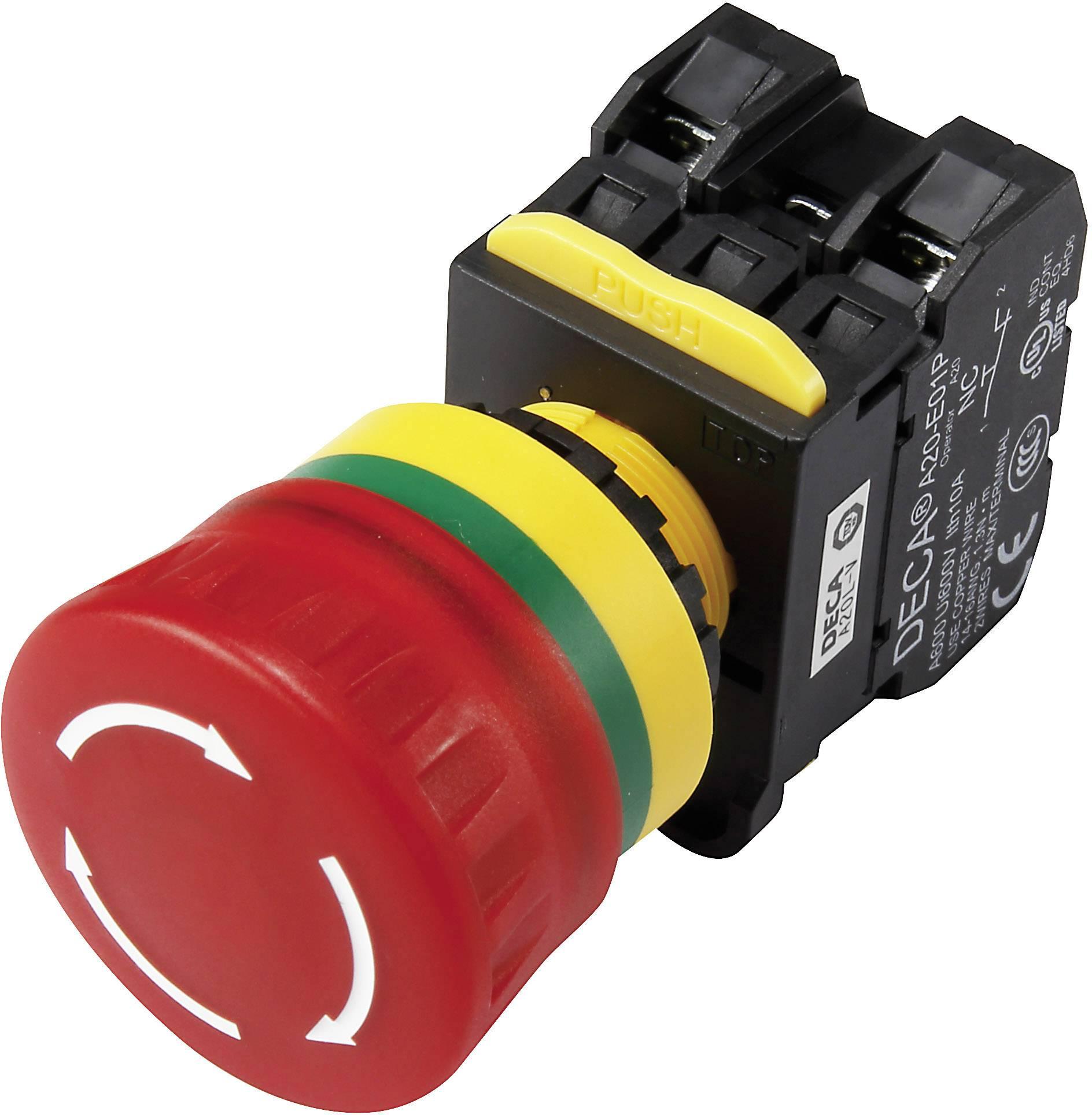Nouzový vypínač s kontaktním prvkem DECA A20L-V4E11QM3R, 240 V/AC, 6 A