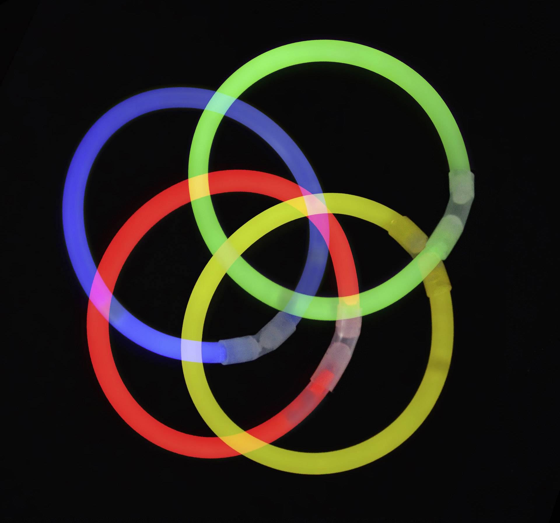 Neónová svetelná tyčinka, 7 farieb, sada 100 ks