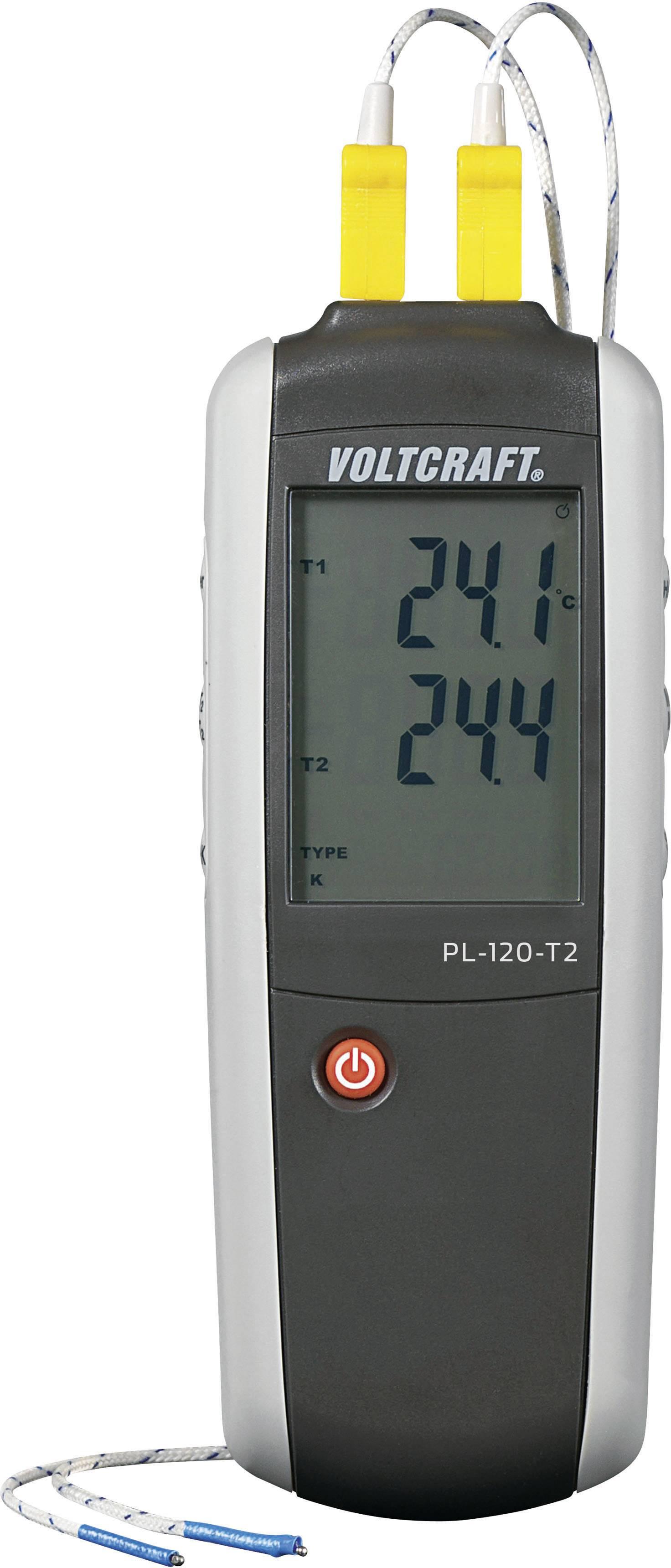 Teploměr VOLTCRAFT PL-120 T2 PL-120 T2, -200 až +1372 °C, typ senzoru K, J , Kalibrováno dle: ISO