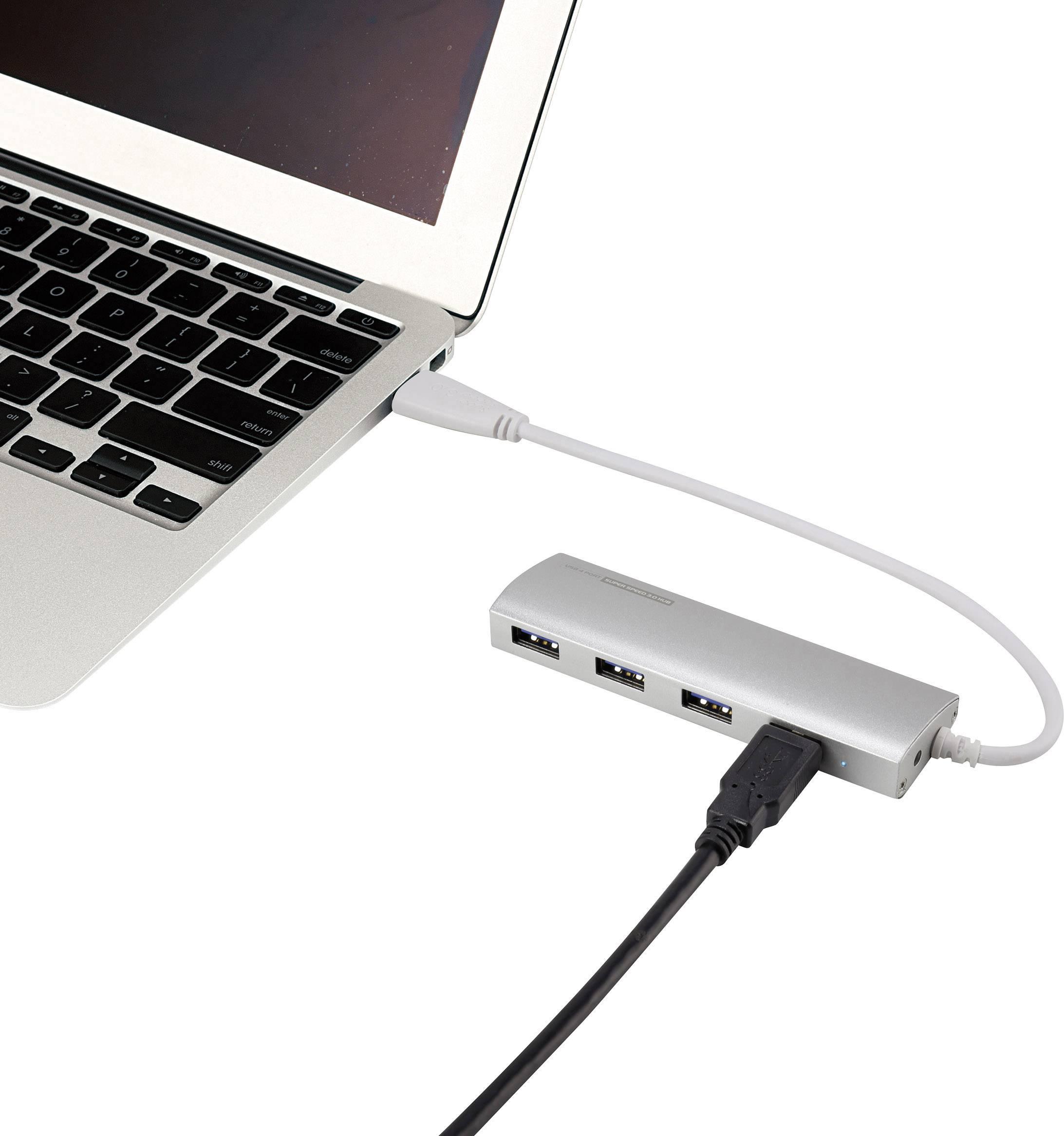 USB 3.0 hub Renkforce RF-3703155 s 4 portmi, 35 mm, hliník