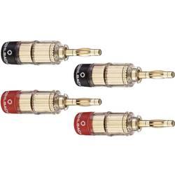 Konektor reproduktora zástrčka, rovná Oehlbach 3020, zlatá, červená, čierna, 4 ks