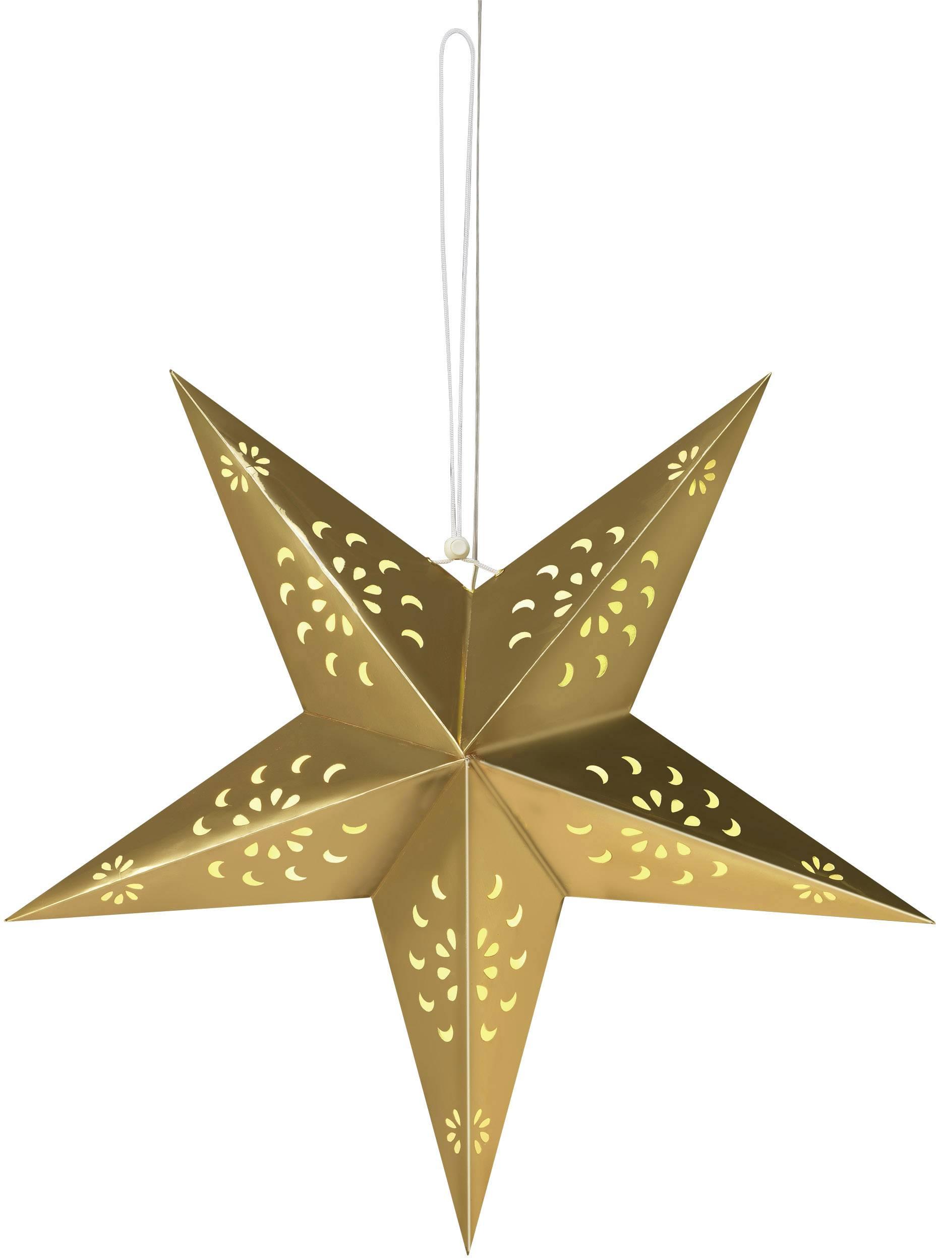 Papierové LED osvetlenie do okna Polarlite LDE-03-001, do siete, zlatá hviezda