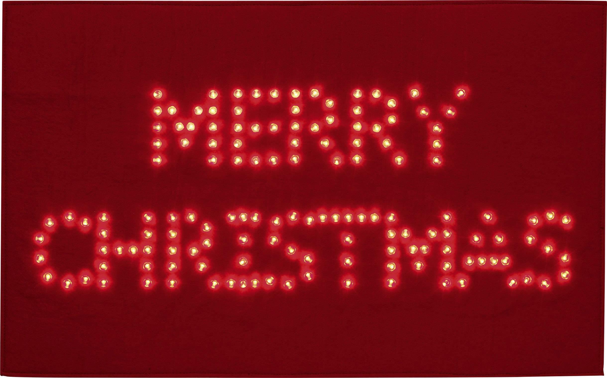 Vánoční LED rohožka Polarlite PDE-05-001, do sítě, červená, Merry Christmas