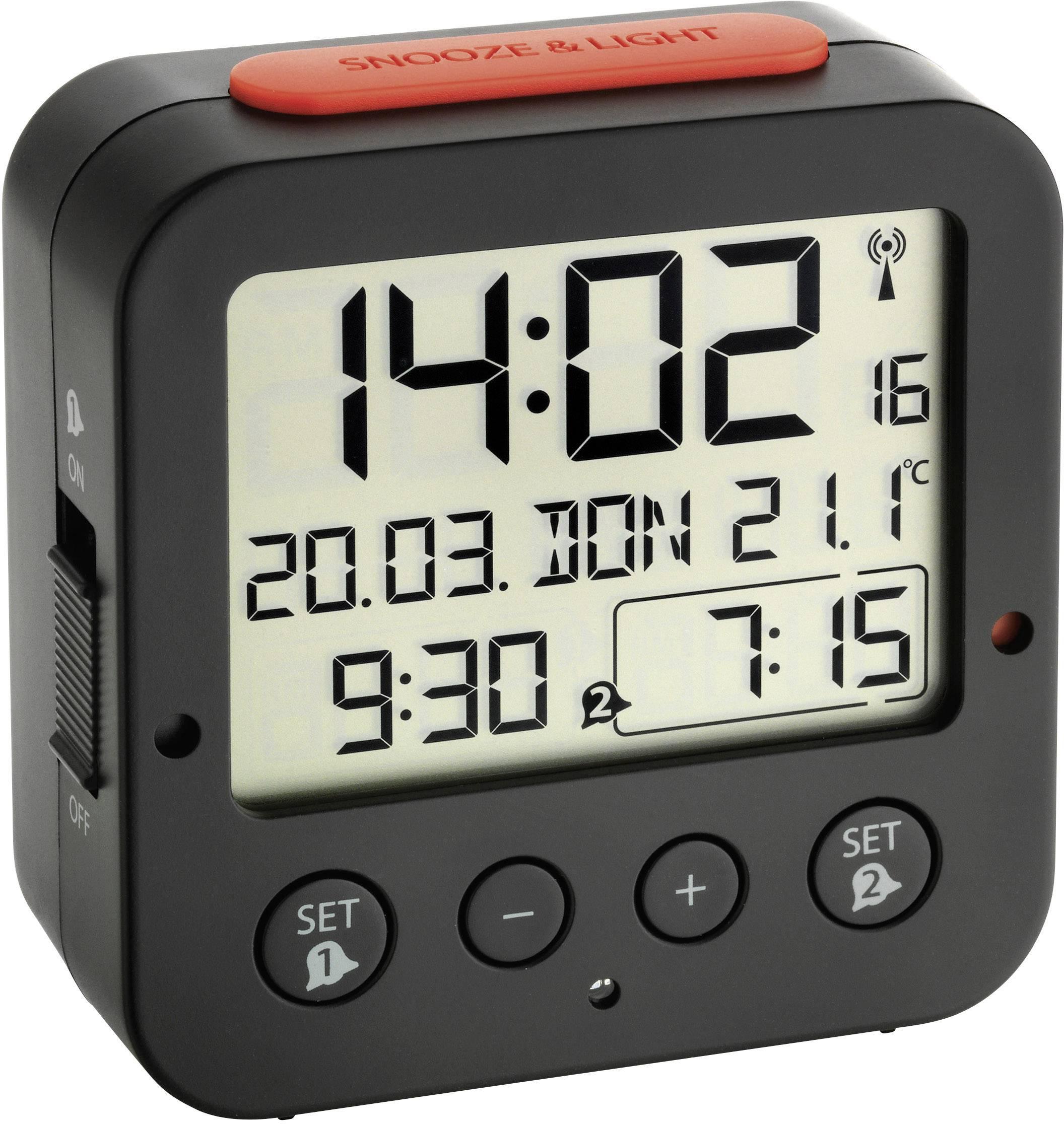 DCF budík s teplomerom TFA Bingo 60.2528.01, časov budenia 2, čierna