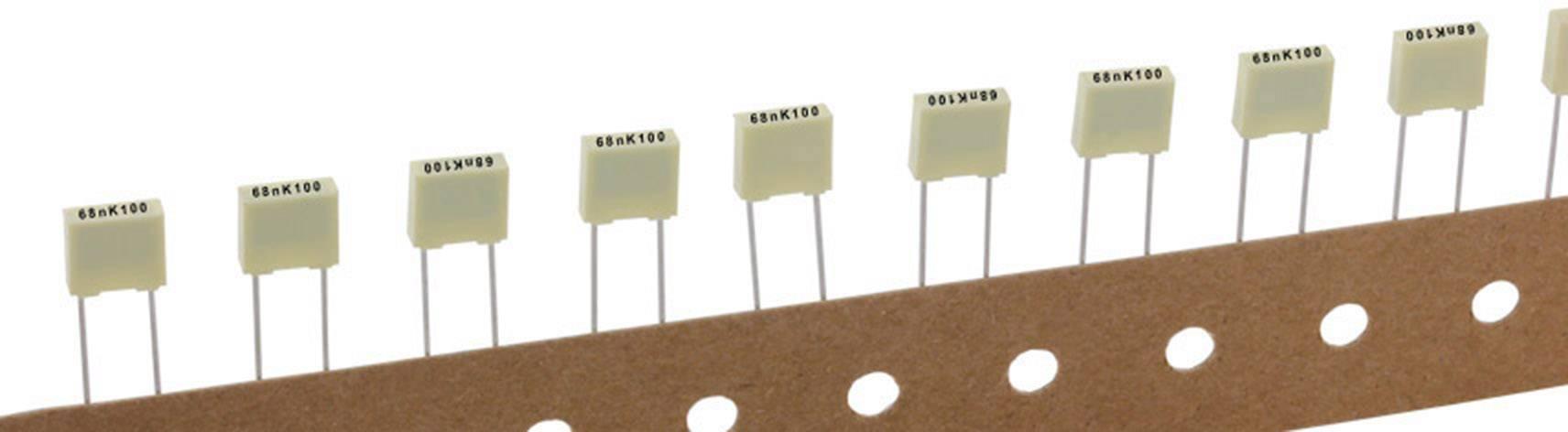 Polyesterový kondenzátor Kemet R82EC1680DQ50K+ radiální, 6.8 nF, 100 V,10 %, 5 mm, (d x š x v) 7.2 x 2.5 mm x 6.5 mm, 1 ks