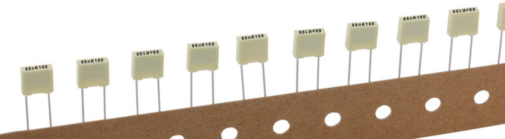 Polyesterový kondenzátor Kemet R82EC2100DQ50K+ radiální, 10 nF, 100 V,10 %, 5 mm, (d x š x v) 7.2 x 2.5 mm x 6.5 mm, 1 ks
