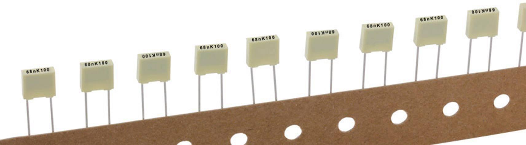 Polyesterový kondenzátor Kemet R82EC2100DQ50K+ radiálne vývody, 10 nF, 100 V,10 %, 5 mm, (d x š x v) 7.2 x 2.5 mm x 6.5 mm, 1 ks