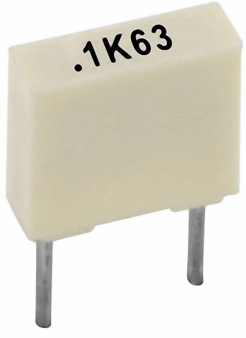 Polyesterový kondenzátor Kemet R82DC3100AA50K+ radiálne vývody, 100 nF, 63 V,10 %, 5 mm, (d x š x v) 7.2 x 2.5 mm x 6.5 mm, 1 ks
