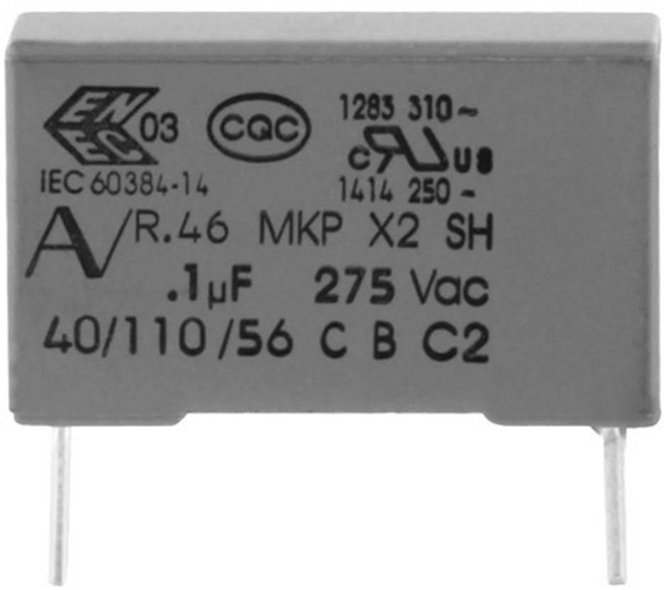 Odrušovací kondenzátor MKP radiálne vývody Kemet R46KR410000M1M+, 1 µF, 275 V, 20 %, 1 ks