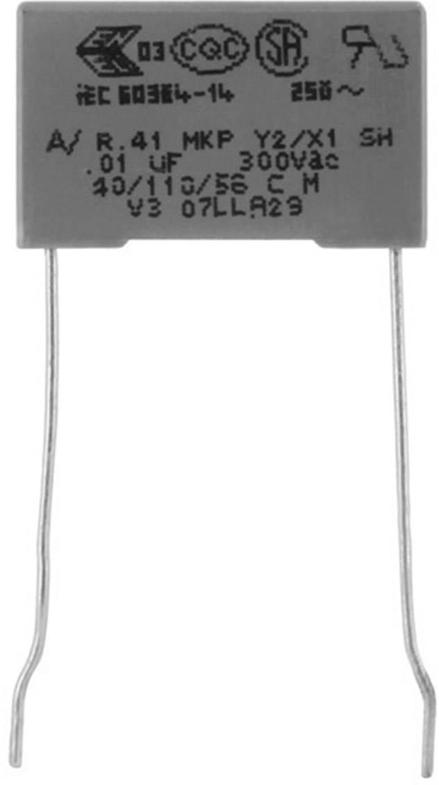 Odrušovací kondenzátor MKP radiální Kemet R413N31000000M+, 100 nF, 300 V, 20 %, 1 ks