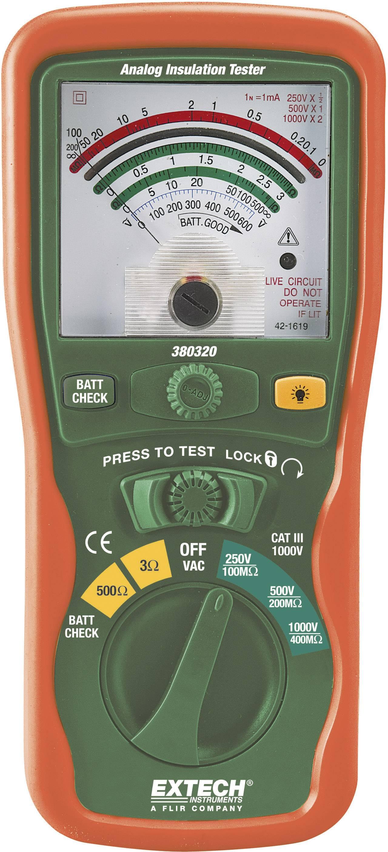 Tester izolací Extech 380320, 1000/250/500 V, 0 - 400 MΩ, CAT III 1000 V, Kalibrováno dle ISO