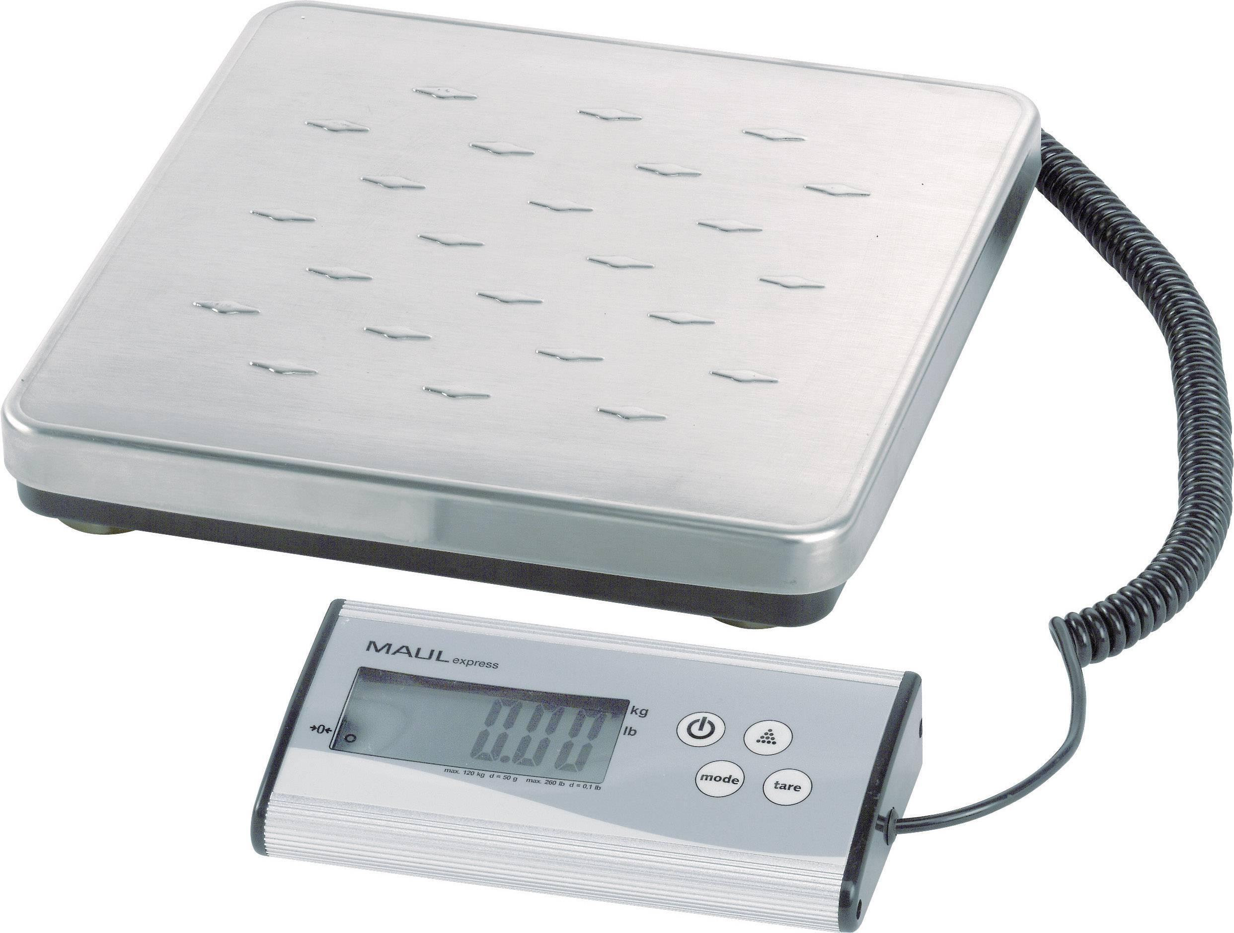 Poštovní váha Maul Max. váživost 120 kg Rozlišení 50 g na baterii stříbrná