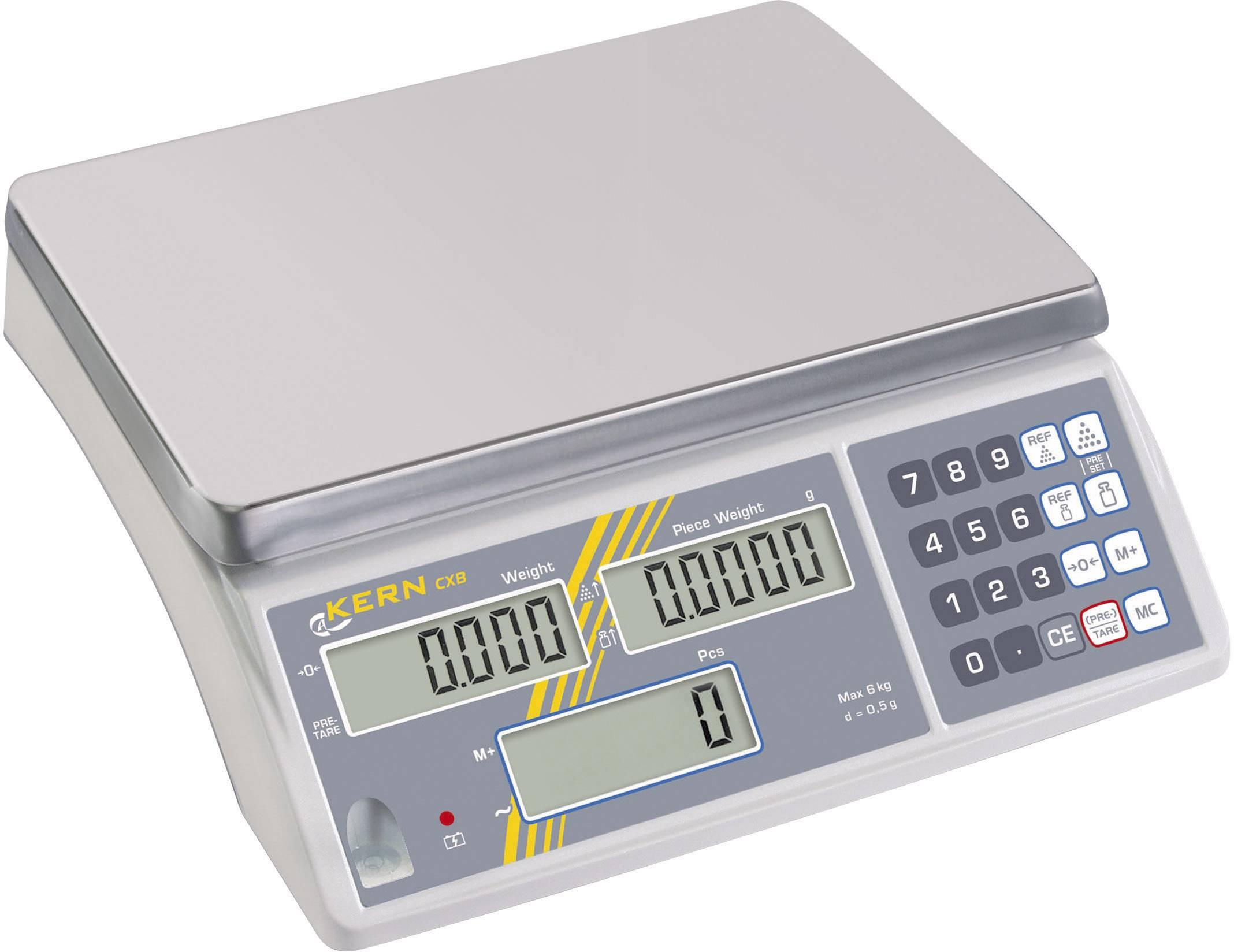Počítací váha Kern CXB 30K2 30 kg, rozlišení 2 g, stříbrná, kalibrace dle ISO