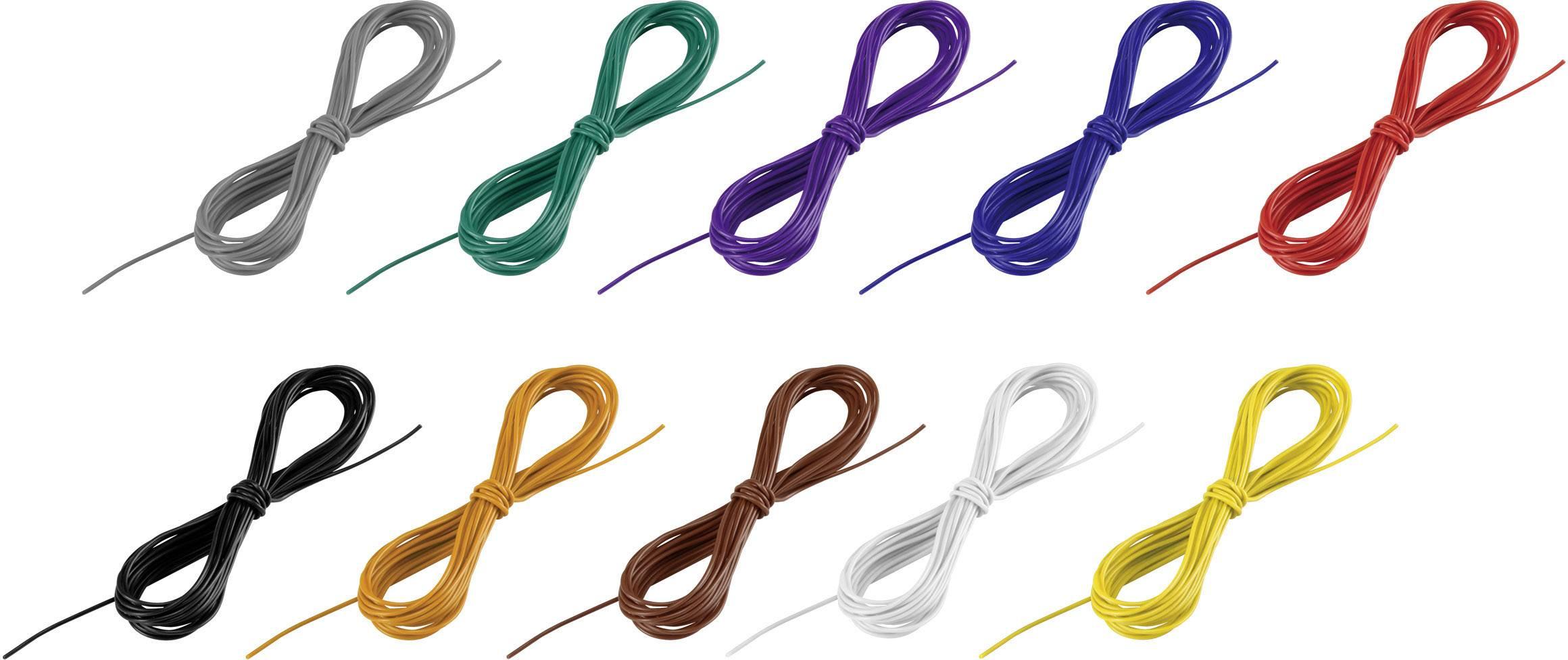 Opletenie / lanko Conrad Components 1243990 LiFY, 1 x 0.05 mm², vonkajší Ø 0.80 mm, 1 sada, čierna, biela, modrá, hnedá, červená, žltá, zelená, sivá, oranžová, purpurová