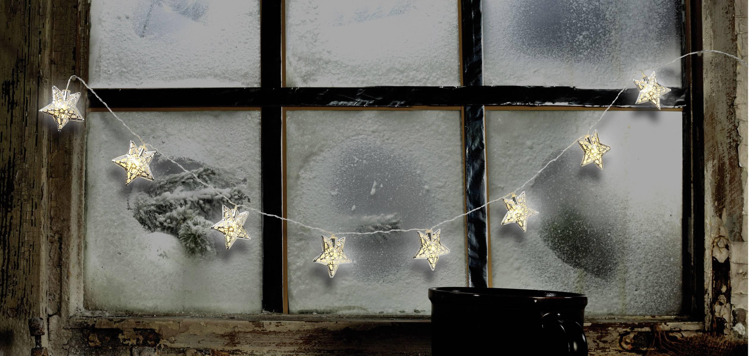 Dekoratívne nástavec na reťaz Polarlite DIY-02-001, 8 LED, hviezda, strieborná