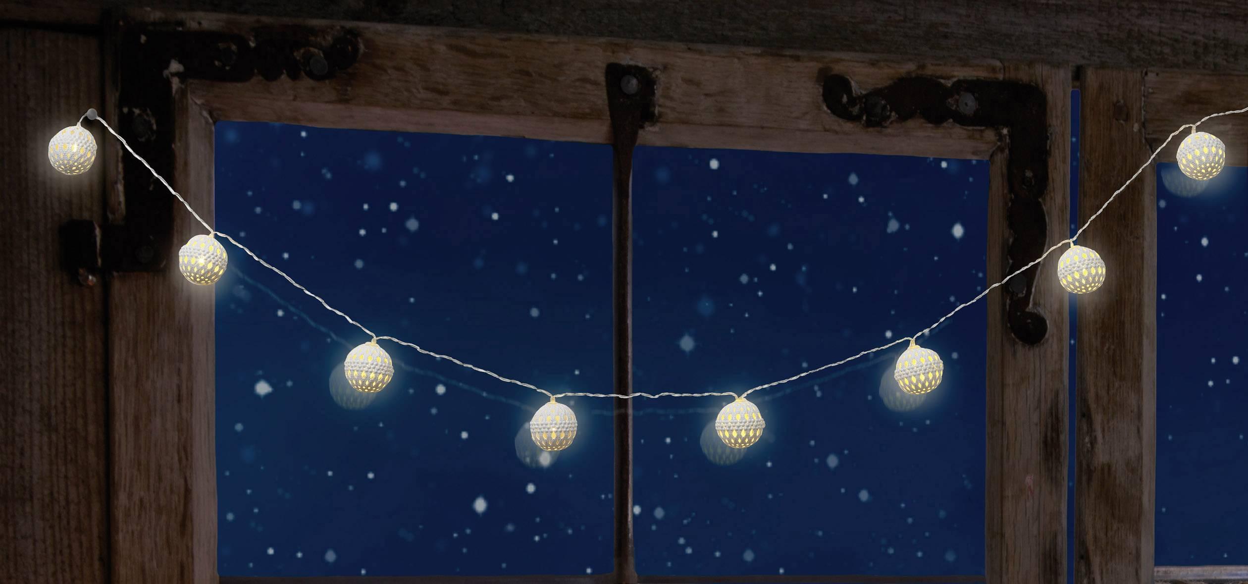 Dekoratívne nástavec na reťaz Polarlite DIY-02-006, 8 LED, guľôčky, biela