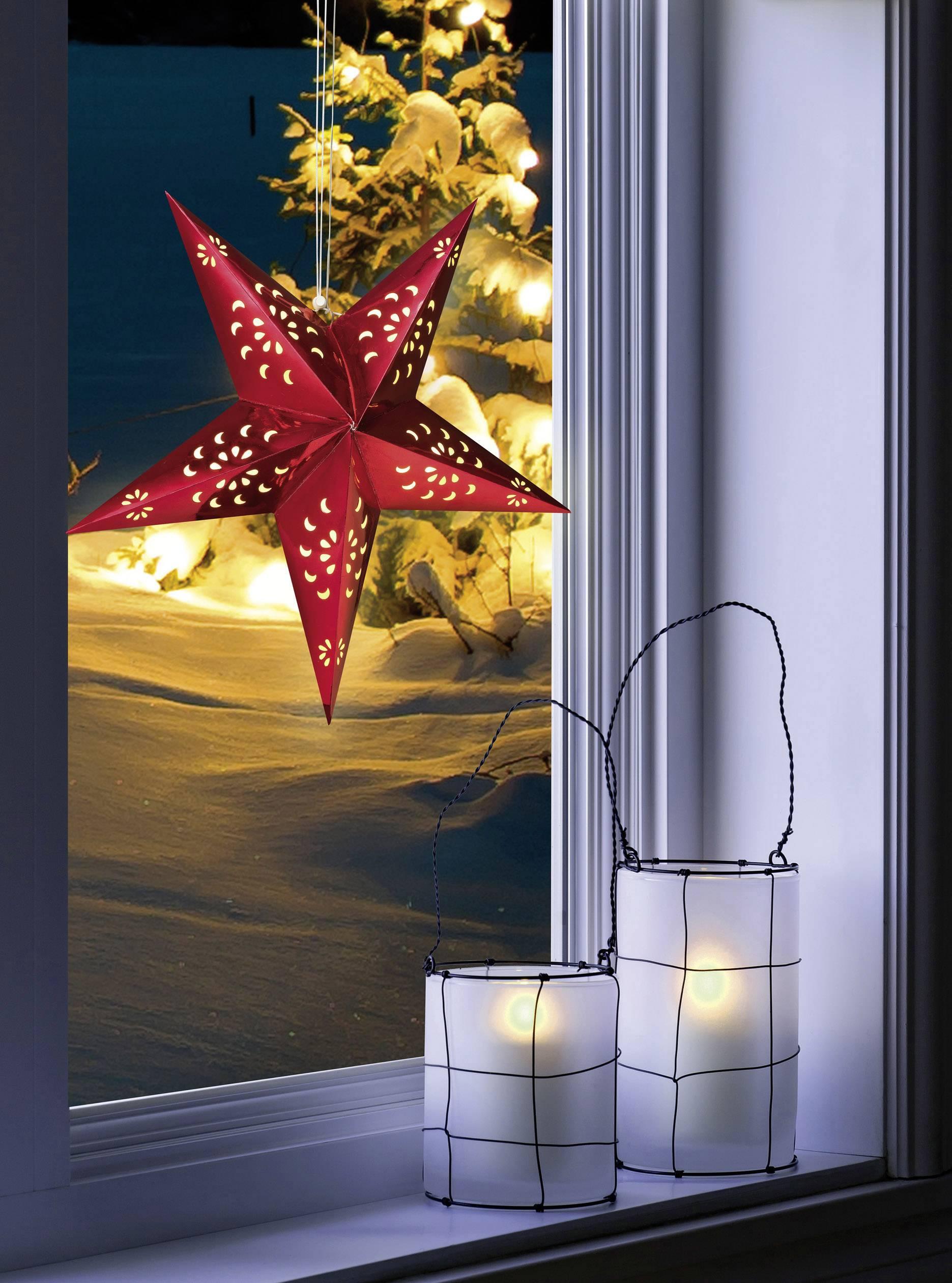 Papierové LED osvetlenie do okna Polarlite LDE-03-002, do siete, červená hviezda