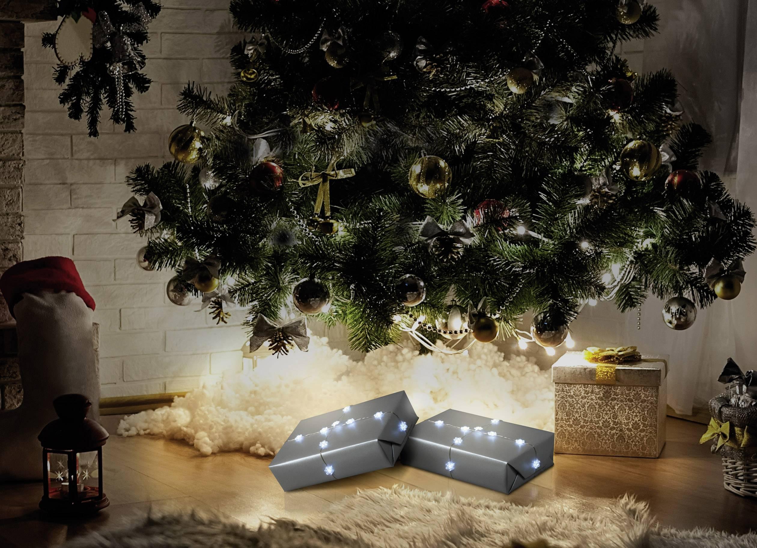 Světelný řetěz s motivem sněhové vločky Polarlite LBA-03-010 na baterii, 20 LED studená bílá, 1.5 m