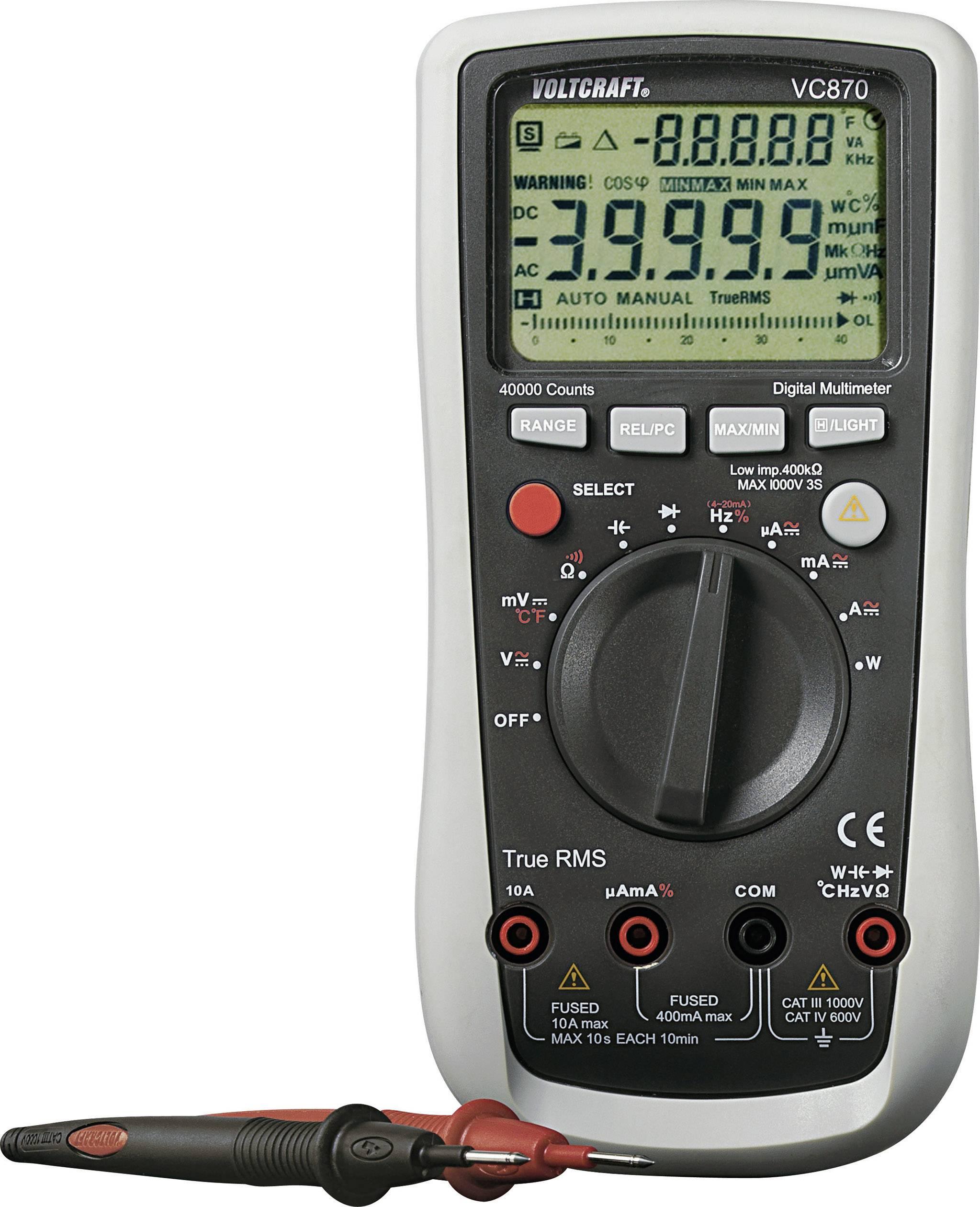 Digitálne/y ručný multimeter VOLTCRAFT VC870, kalibrácia podľa ISO