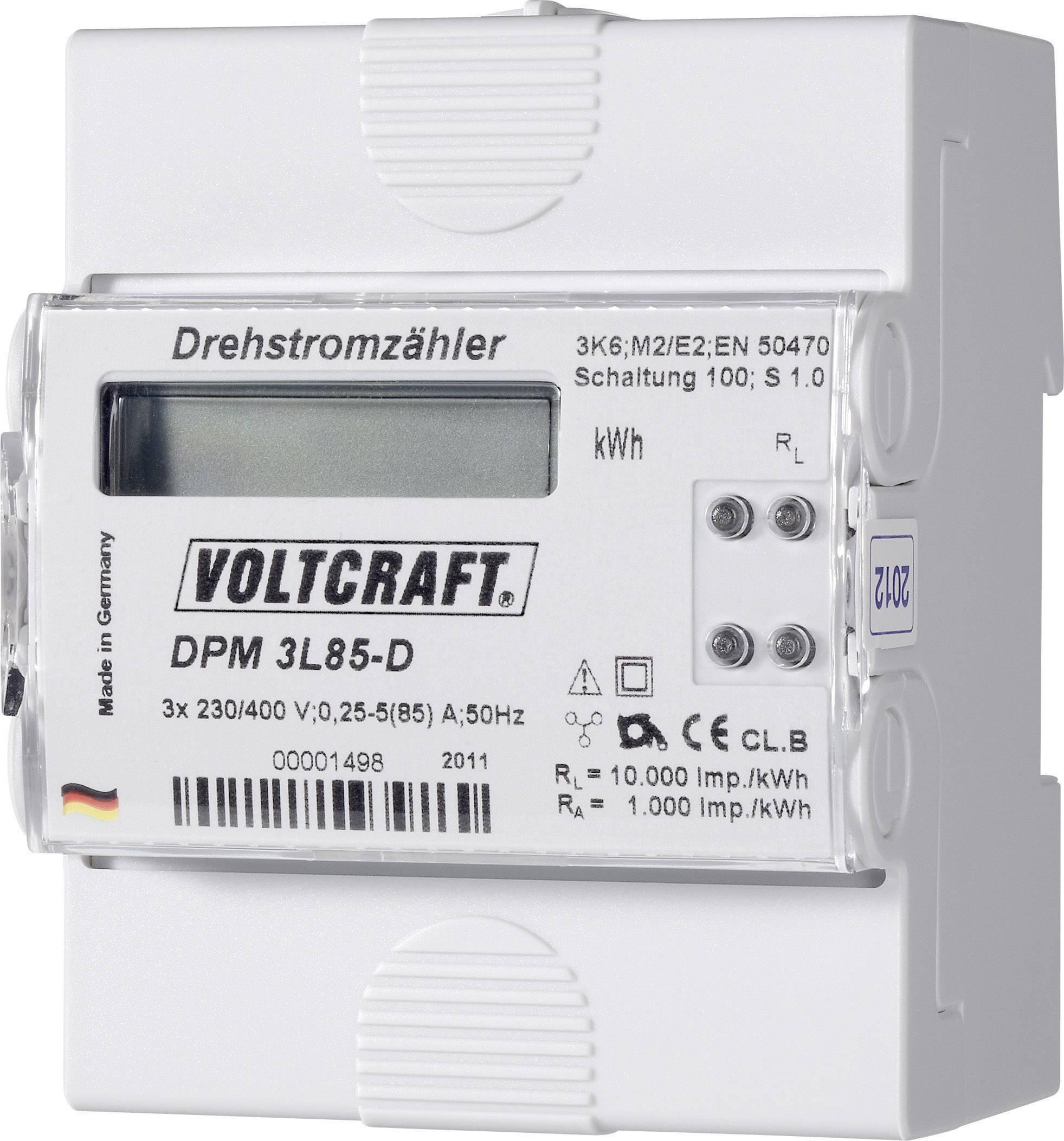 Trojfázový merač spotreby digitálne/y na DIN lištu VOLTCRAFT DPM 3L85-D, 85 A