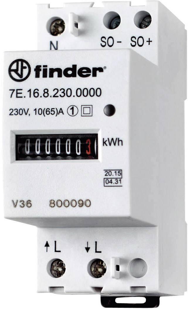 Jednofázový elektromer mechanické Finder 7E.16.8.230.0010, 65 A