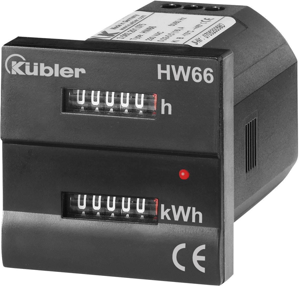 Jednofázový elektromer mechanické Kübler HW66 M 230 VAC 3.56M.201.075, 16 A