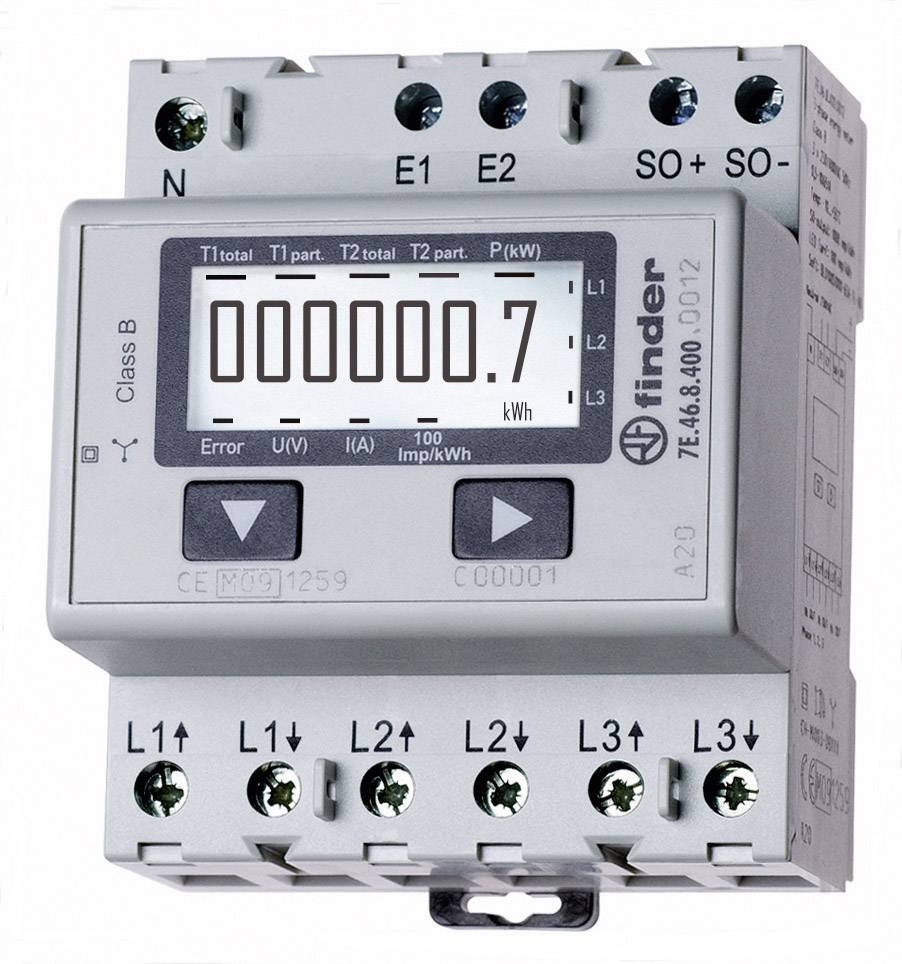Trojfázový elektromer digitálne/y Finder 7E.46.8.400.0002 7E.46.8.400.0002, 65 A