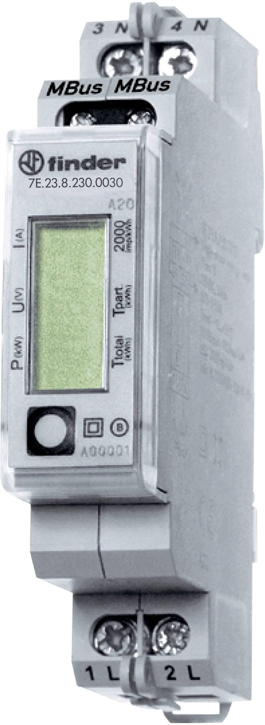 Jednofázový elektroměr Finder 32 A MID M-Bus, na DIN lištu