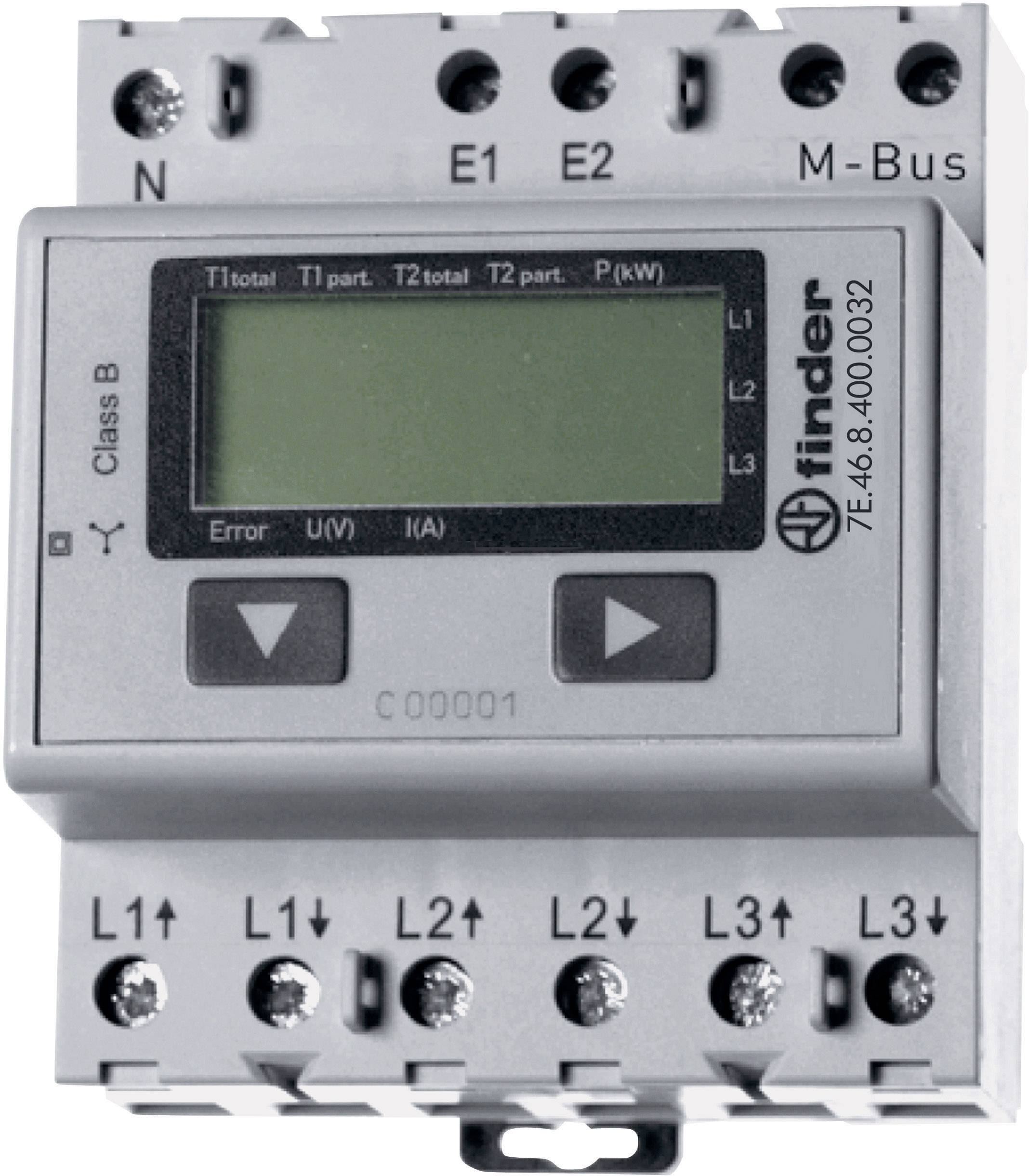 Trojfázový elektromer digitálne/y Finder 7E.46.8.400.0032 7E.46.8.400.0032, 65 A