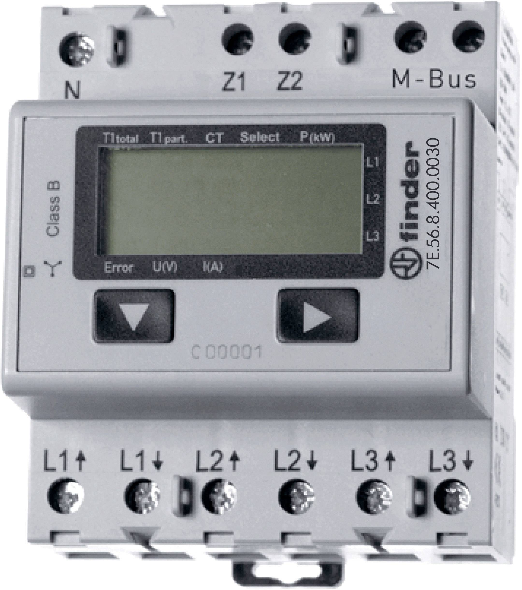 Třífázový elektroměr Finder 1500A MID M-Bus, na DIN lištu
