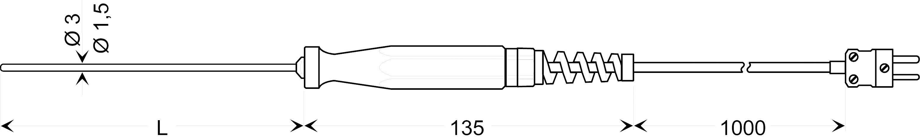 Teplotné čidlo Greisinger GTF 1200, typ K, -200 až +1150 °C