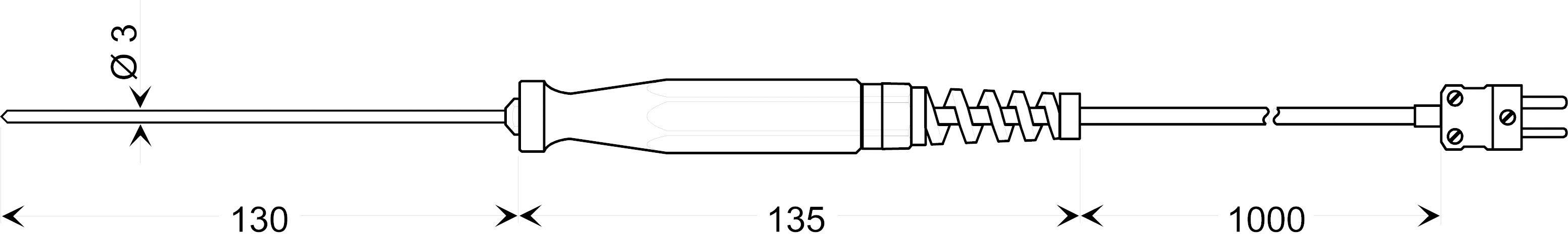 Teplotné čidlo Greisinger GES 900, typ K, -65 až +1000 °C