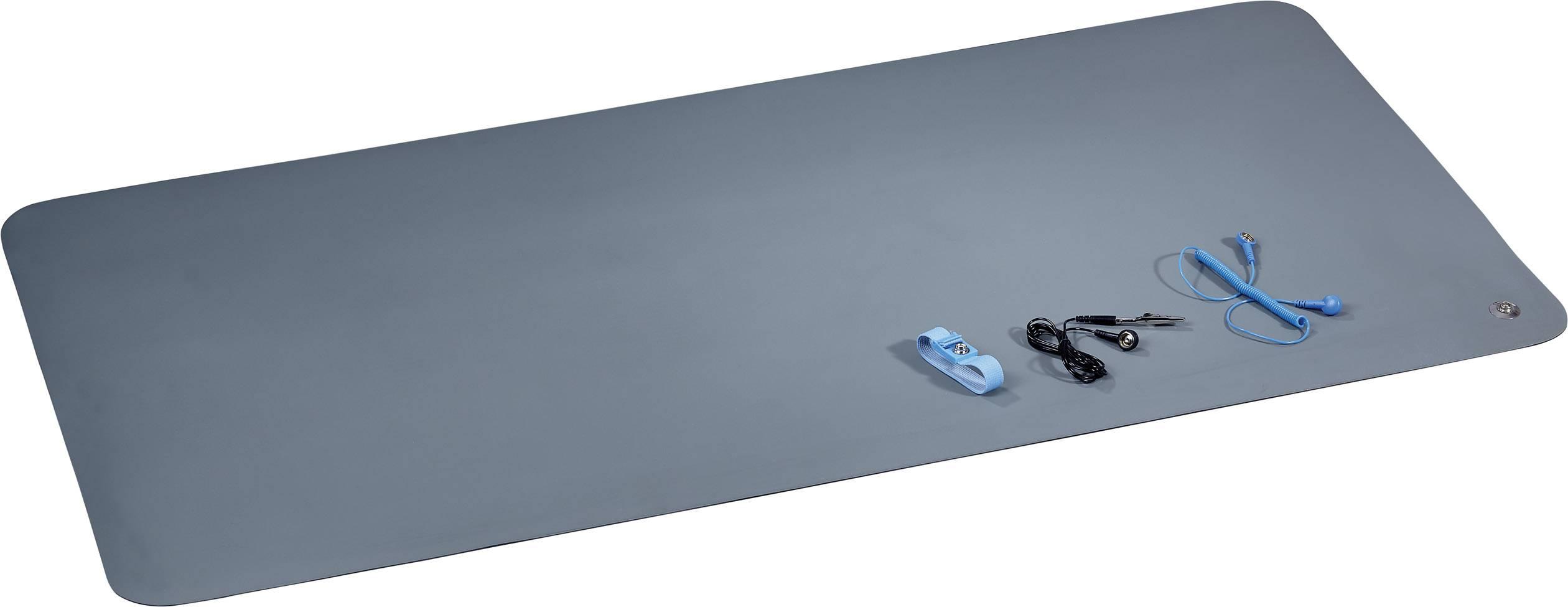 ESD podložky na stolík, sada TRU COMPONENTS 1605860, (d x š) 119 cm x 59 cm, sivozelená, čierna