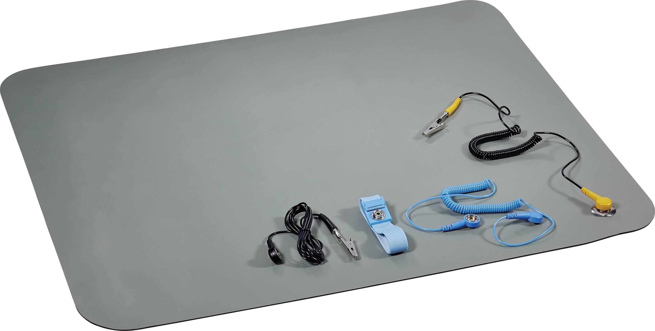 ESD podložky na stolík, sada Conrad Components 1268312, (d x š) 59 cm x 50 cm, sivozelená, čierna