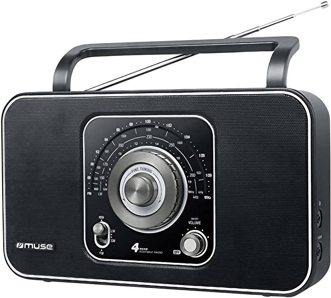 Svetový rádioprijímač Muse M 068 R, AUX, KW, LW, MW, UKW, čierna