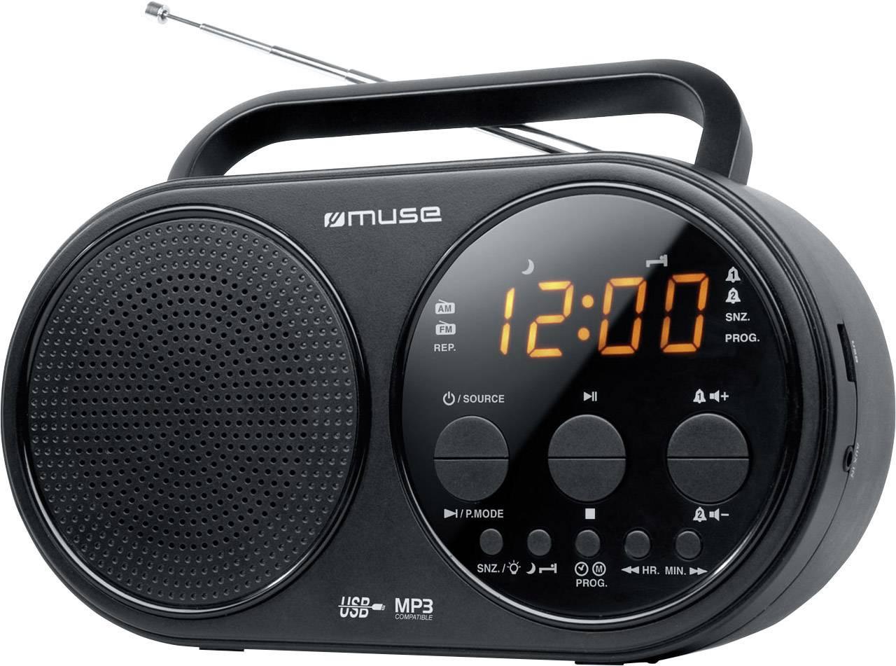FM prenosné rádio Muse M-088 R, AUX, MW, UKW, USB, čierna