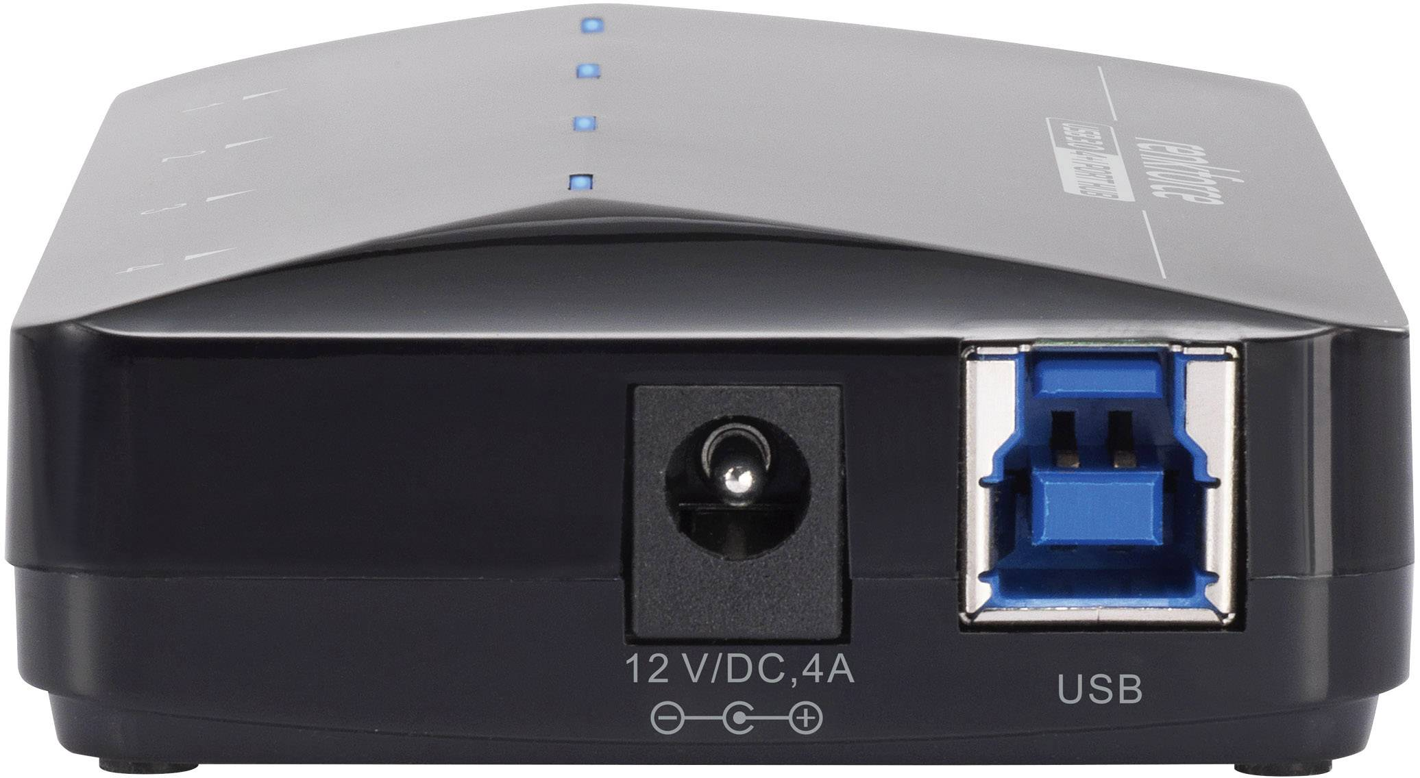 USB 3.0 hub Renkforce RF-3806031 4+1 port, čierna
