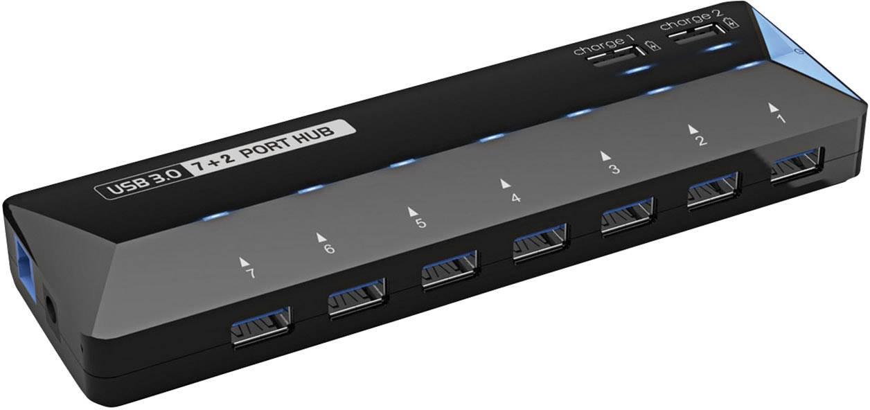 USB hub Renkforce, 7 + 2 USB 3.0, čierna
