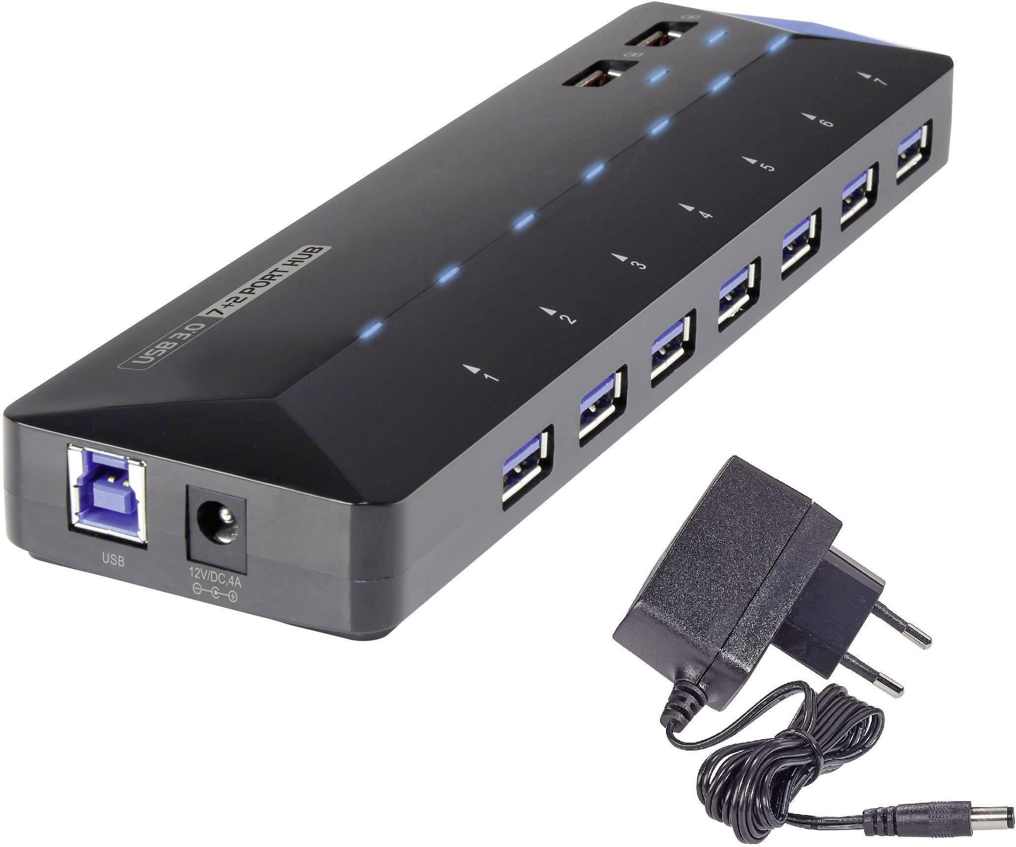 USB 3.0 hub Renkforce RF-3806034 7+2 porty, čierna