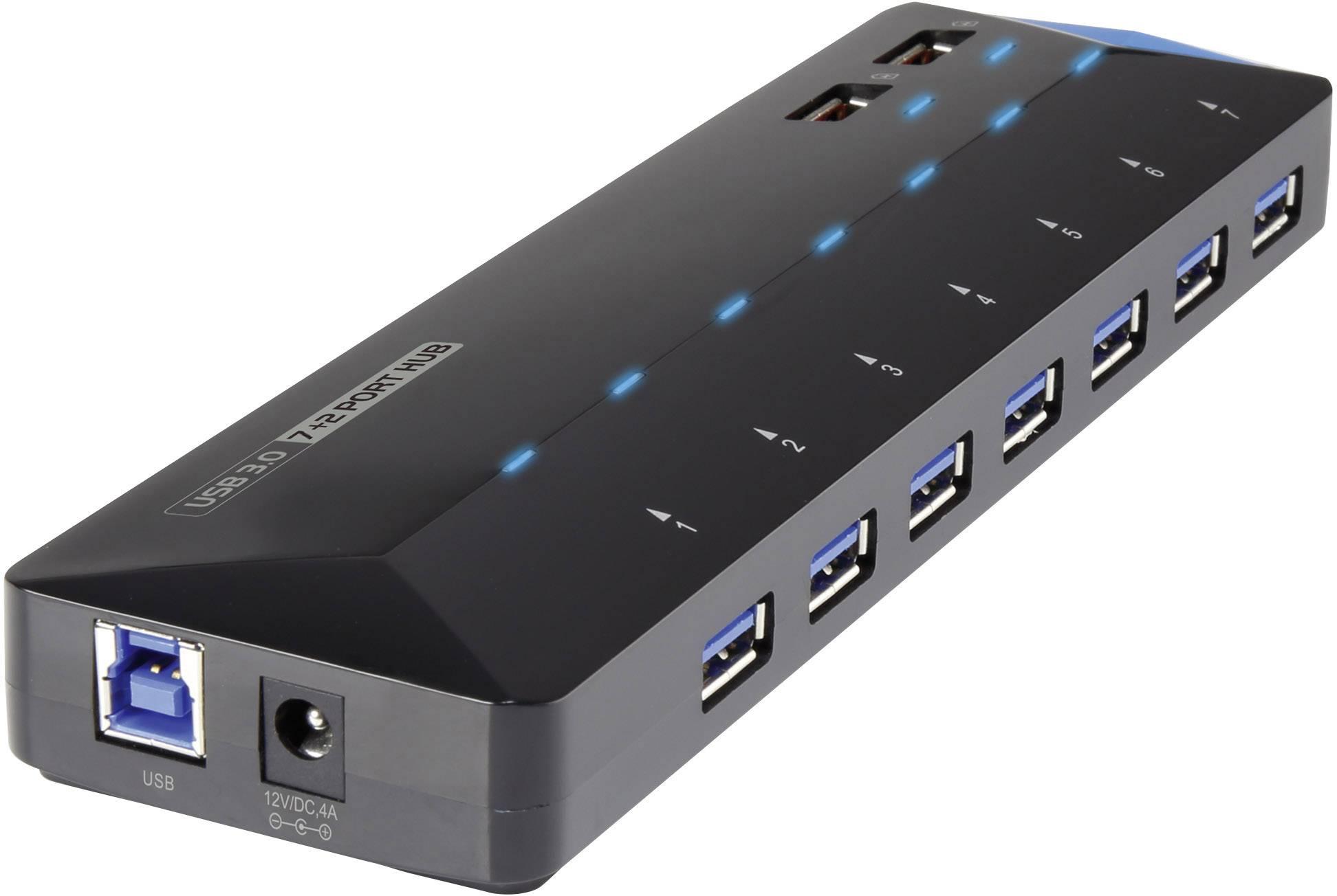 USB 3.0 hub Renkforce RF-3806034 7 + 2 porty, černá