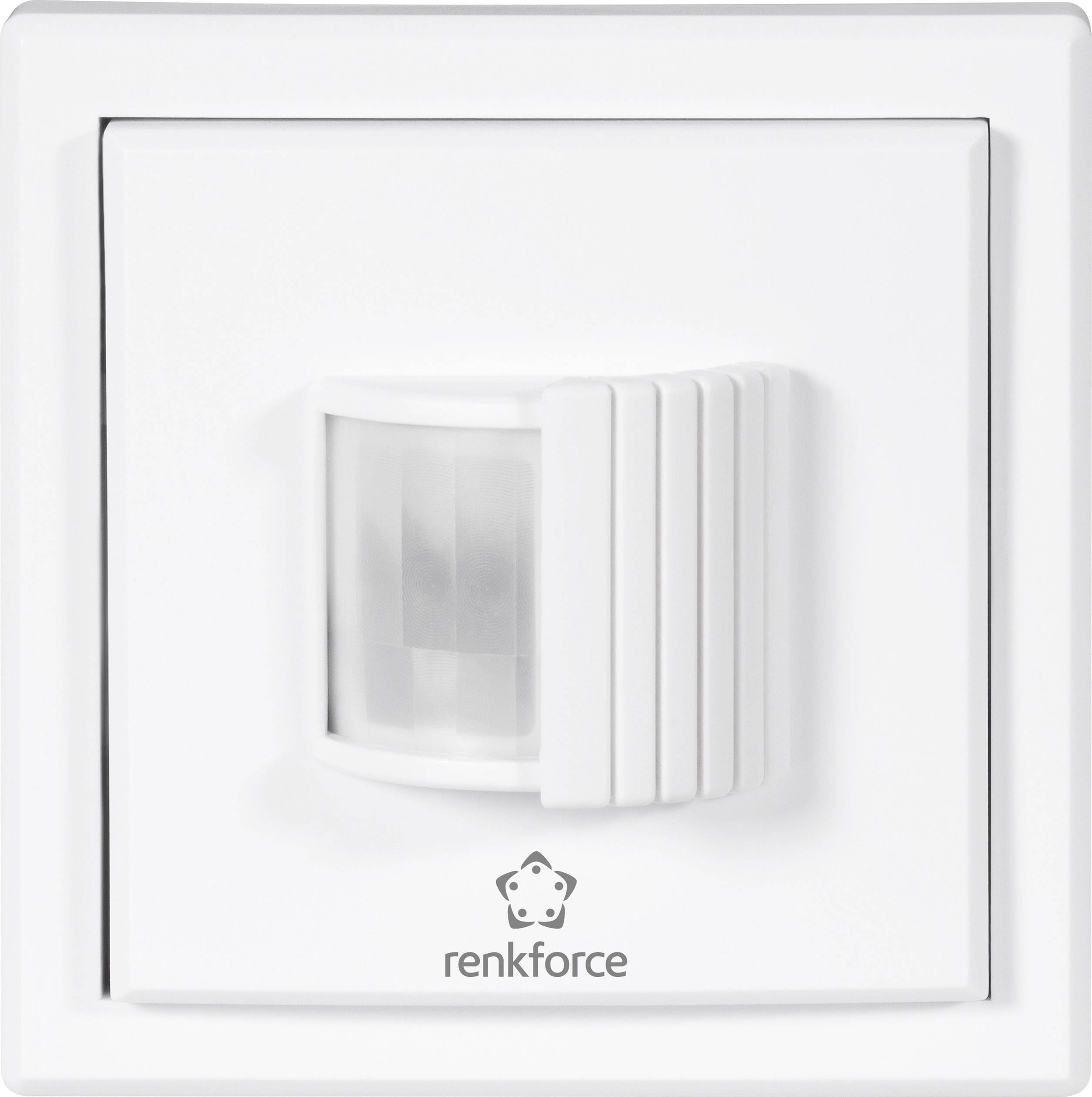 Bezdrôtový detektor pohybu na omietku Renkforce RS2W 1270202, 1-kanálový , max. dosah 150 m, biela
