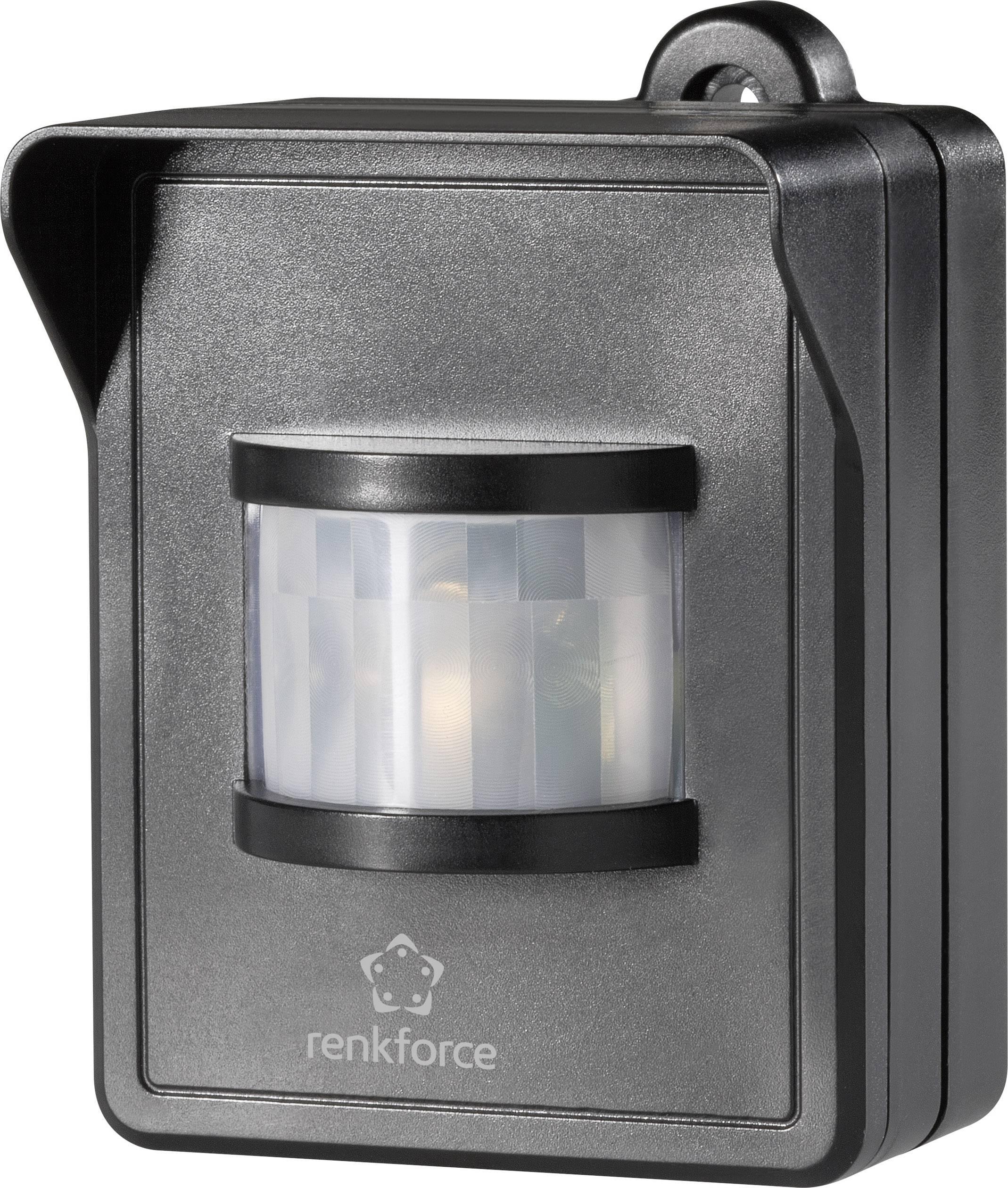 Bezdrôtový detektor pohybu na omietku Renkforce RS2W 1270203, 1-kanálový , max. dosah 150 m, čierna