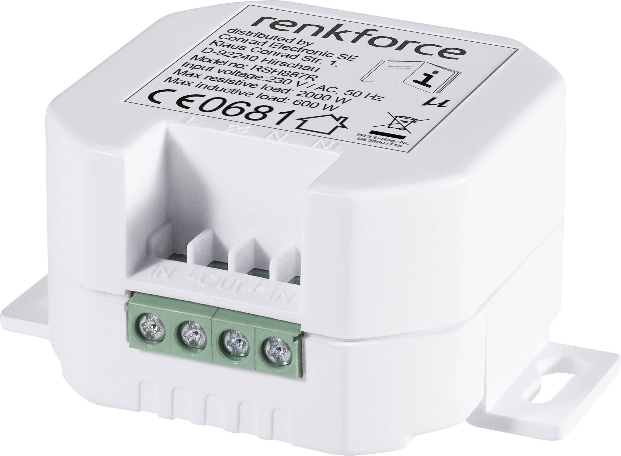 Vstavaný bezdrôtový spínač RENKFORCE RS2W, 1 kanál, 2000 W