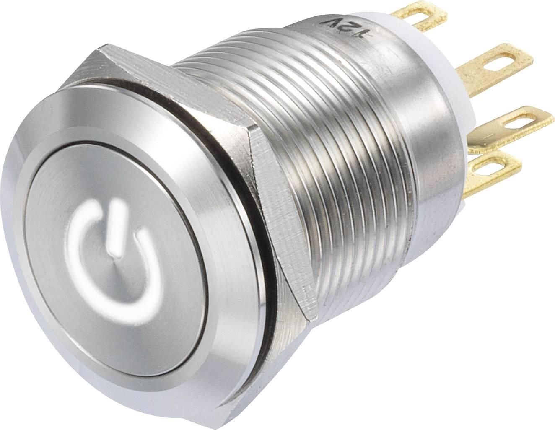 Stláčacie tlačidlo TRU COMPONENTS LAS1-GQF-11/W/12V, 250 V/AC, 3 A, 1 ks