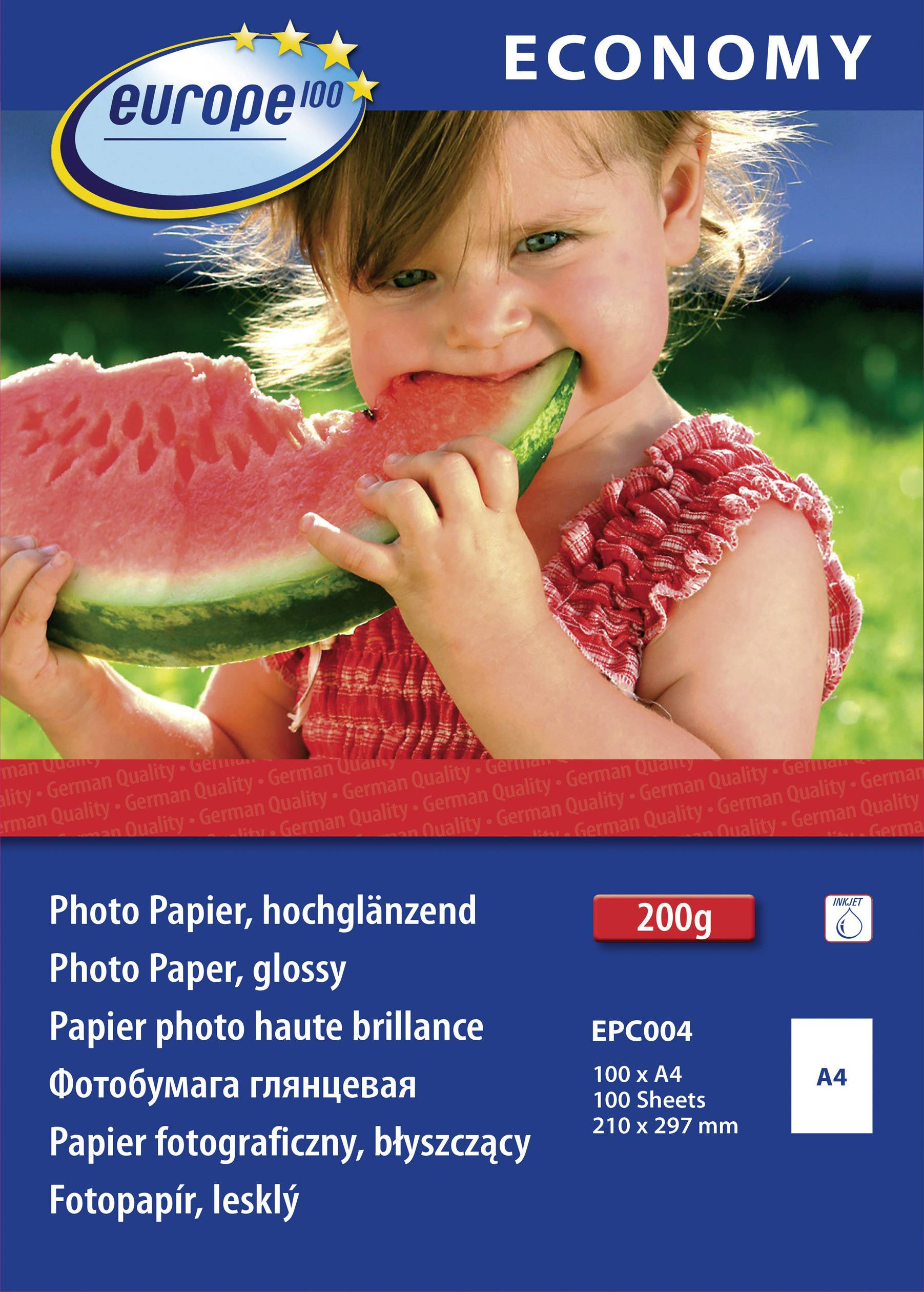 Fotografický papier Europe 100 Economy Photo Paper Glossy EPC004, A4, 210 gm², 100 listov