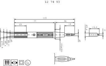 Bezpečnostní zkoušecí hrot MultiContact PP- 115/4, 32 A, 1000 V, černá