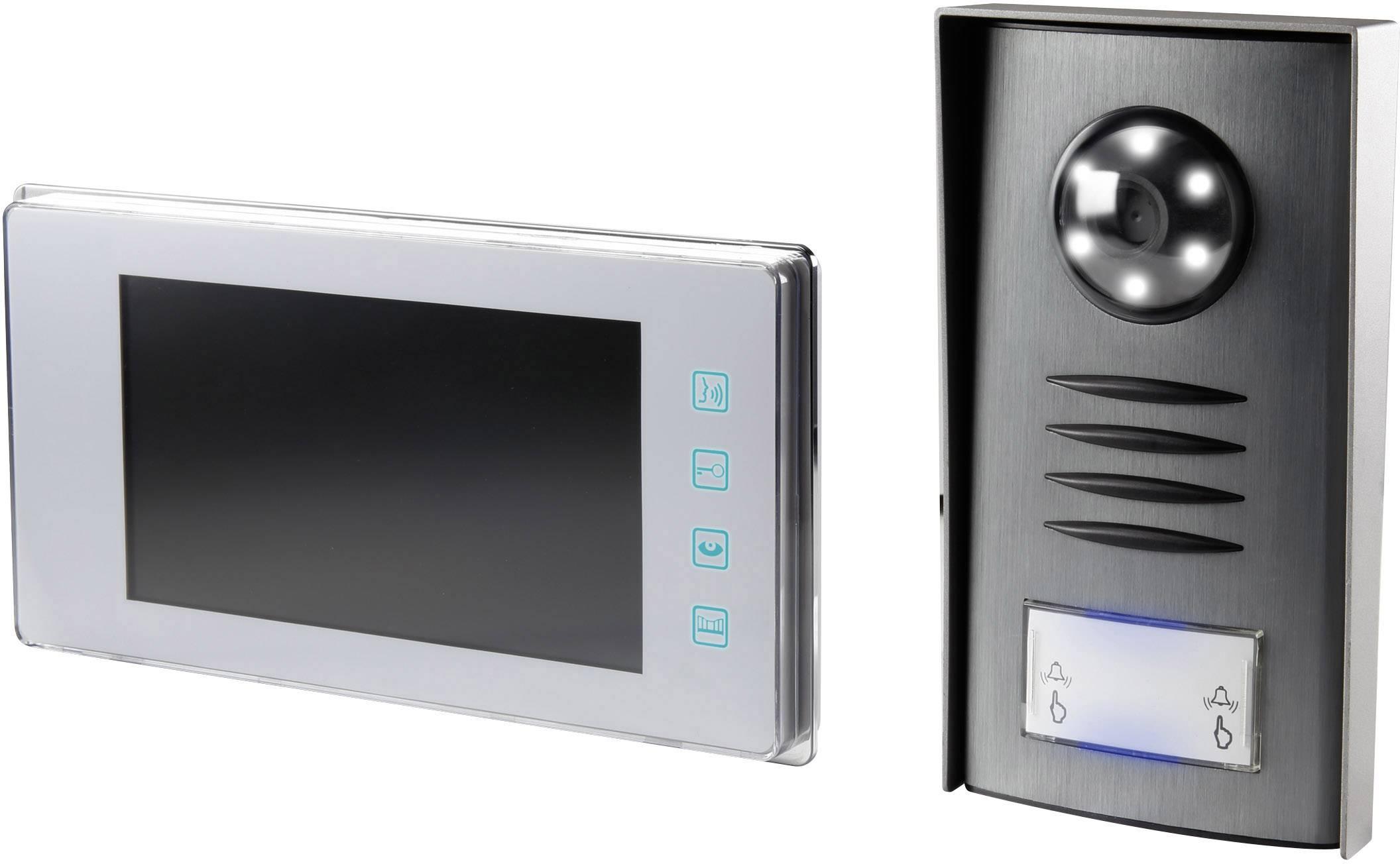 Káblový video dverový telefón Renkforce 1275881, kompletný set, pre 1 domácnosť, strieborná