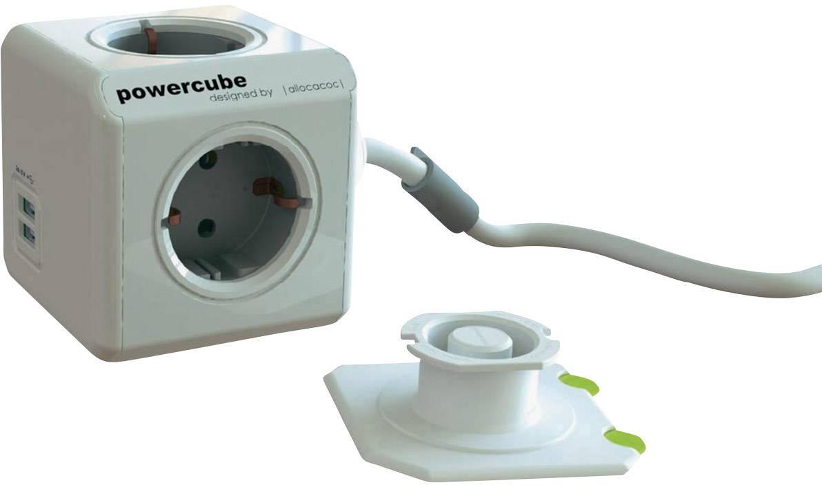 Stolová zástrčková kocka s USB 4-násobný Segula Powercube 50456, 3.00 m, biela, sivá