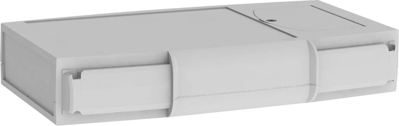 Plastová krabička Axxatronic CHH666BGY, 200 x 120 x 35 mm, ABS, světle šedá, 1 ks